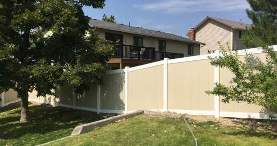 Tan and White Privacy Fence